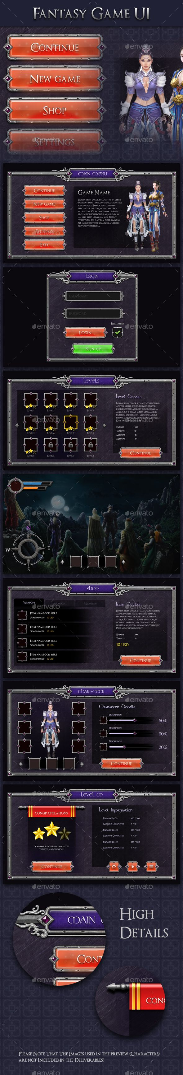 Fantasy Game UI - MMO RPG