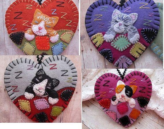 Made to Order Napping Kitten Ornaments - Choose Ginger Kitten, Grey Tabby Kitten, Tuxedo Kitten or Calico Kitten