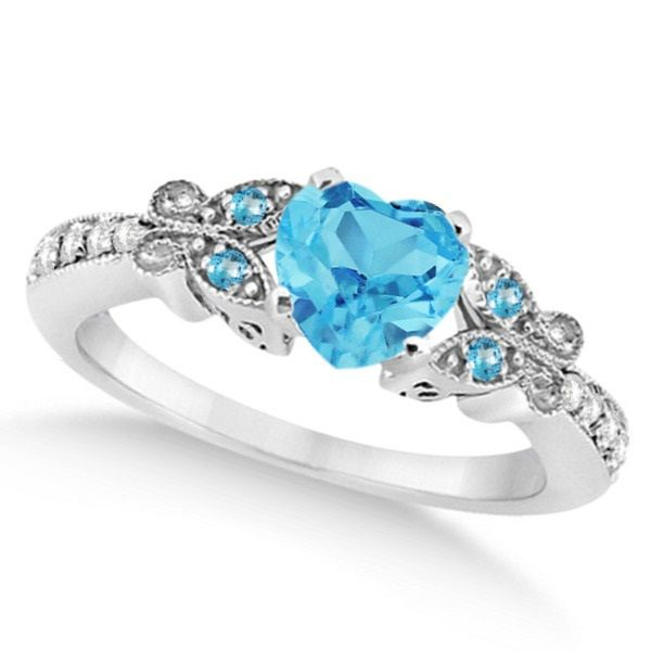 Erfly Blue Topaz Diamond Heart Engagement Ring 14k W Gold 1 33ct Rings Pinterest And