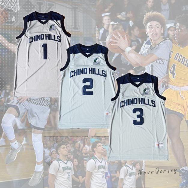 Chino Hills Huskies Lamelo Ball 1 Lonzo Ball 2 Liangelo Ball 3 Basketball Jersey Grey Liangelo Ball Lamelo Ball Basketball Jersey