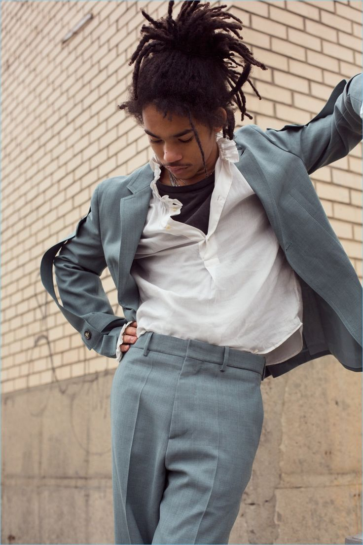 Suited up in Marni, Luka Sabbat wears a Burberry shirt over a Calvin Klein t-shirt.