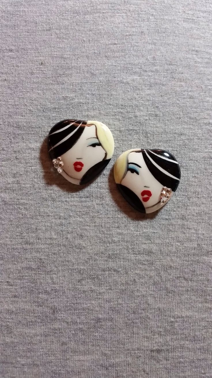 Handpainted Earrings - Ceramic Jewelry - Black Earrings - Art Jewelry - Unique Earrings - Jewelry With Faces - Gifts For Women by PickneyCreations on Etsy https://www.etsy.com/listing/236799338/handpainted-earrings-ceramic-jewelry