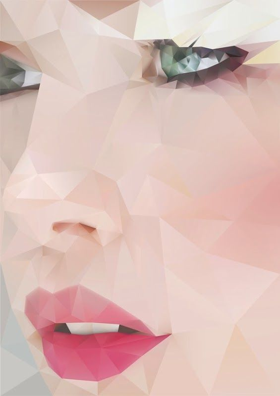 """""""Sunday"""" - Angie Niebles {delicate geometric beautiful female face facets graphic design illustration woman portrait} <3  I think the editing of this photo is really interesting, it's like they made it to be pixalated on purpose. I feel like this is something we could do in Photoshop."""