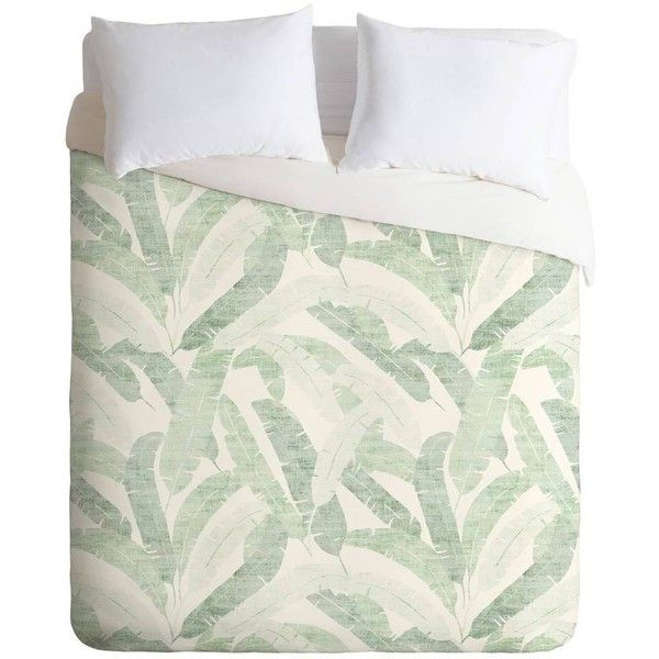 DENY Designs Holli Zollinger Banana Leaf Light Duvet Cover Green Twin... (£110) ❤ liked on Polyvore featuring home, bed & bath, bedding, duvet covers, deny designs, twin bed linens, twin bedding, deny designs bedding and banana leaf bedding