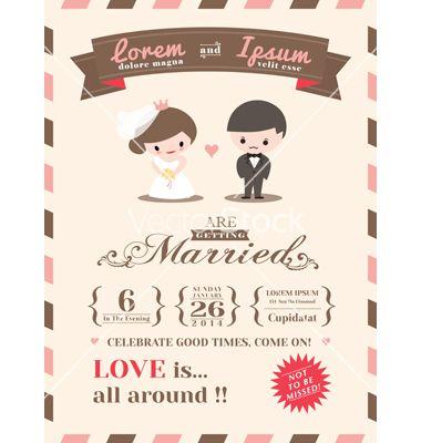 Wedding invitation card template vector by kraphix on VectorStock®