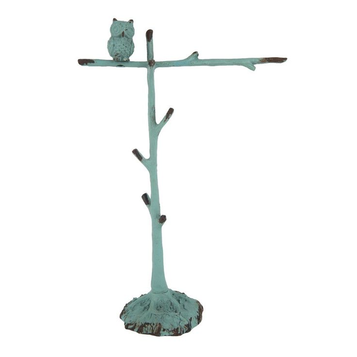 NIKKY HOME Vintage Pewter Jewelry Tree Stand with Owl 6.7 x 2.8 x 10.2 Inches Blue