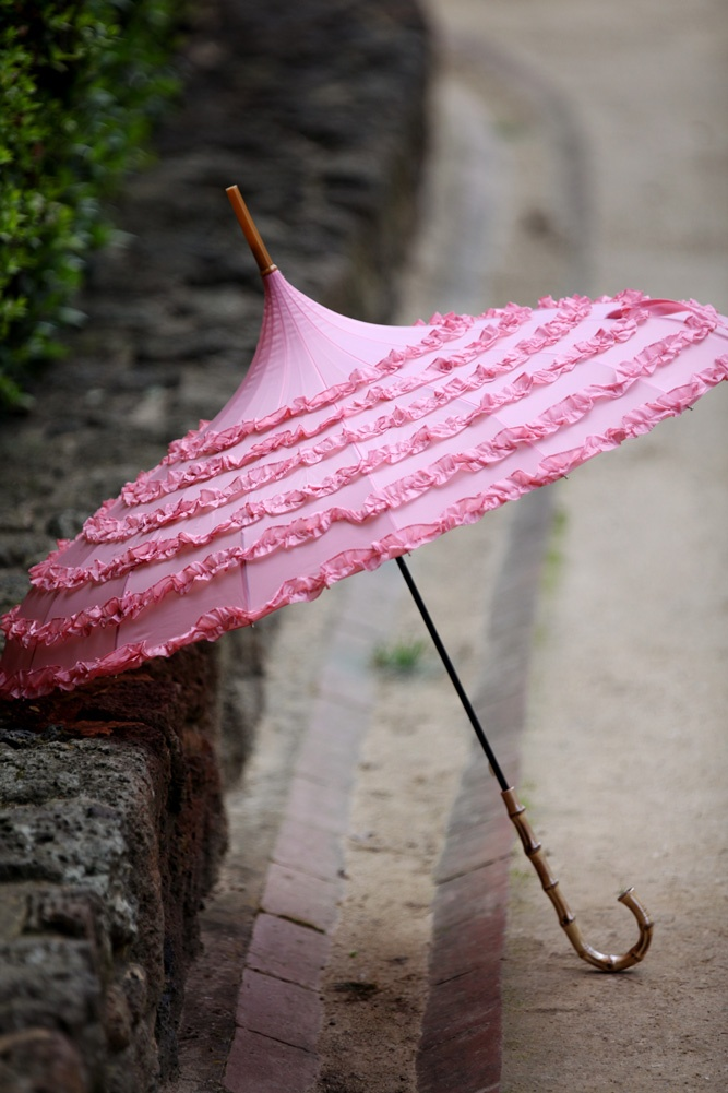 Pink Vintage - Blush Frou Frou Parasol umbrella.