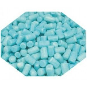 A bulk 1kg bag of blue candy coated marshmallows.