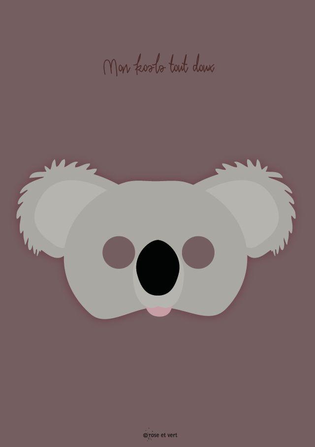 Printable ROSE ET VERT Koala masque