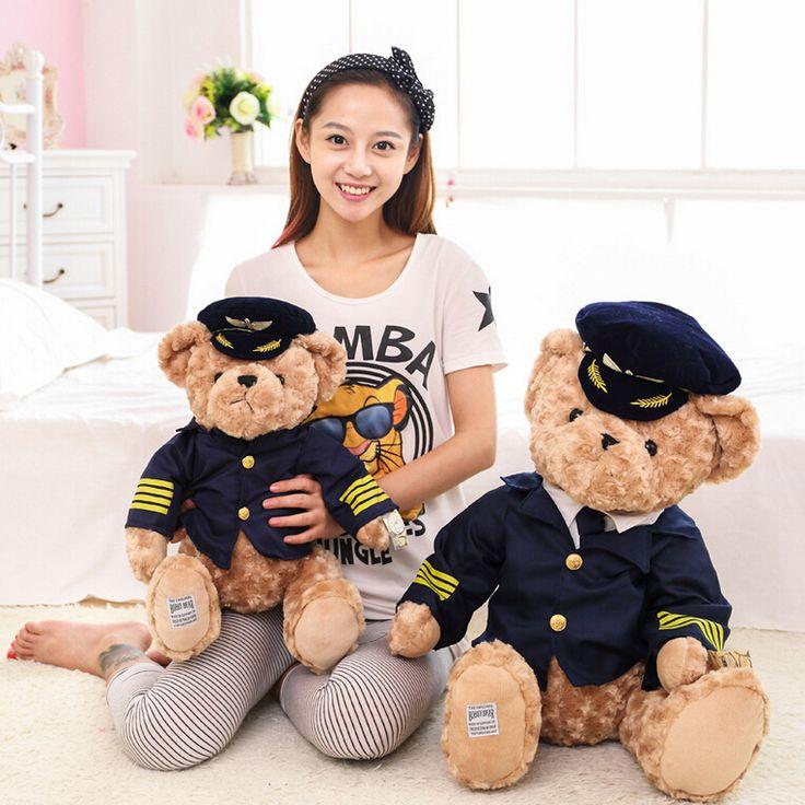 Alta calidad 1 unid nuevo piloto lindo oso de peluche de felpa de juguete capitán muñeca del regalo de cumpleaños del bebé embroma el juguete de la muñeca