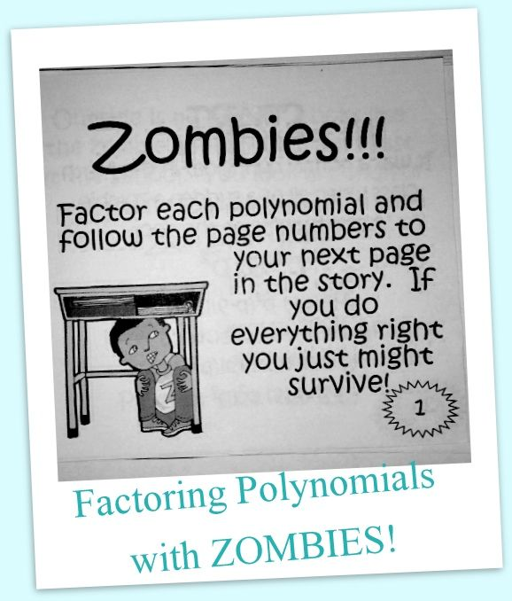 Polynomials & Zombies...I just found an activity that my Algebra students will love!