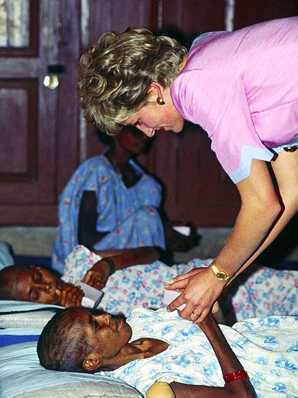 "Calcutta, IndiaThe Princess reaches out to a patient at Mother Teresa's hospice on Feb. 15, 1995. Diana was a dear friend of the nun, who had said, ""She was very much concerned about the poor. That's why she came close to me."""
