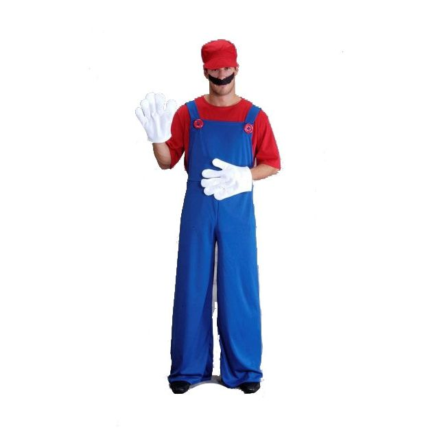 Compleet Super Mario kostuum voor volwassenen. Super Mario pak bestaande uit het shirt, overall, handschoenen, snor en pet. Maat: One size, ongeveer L/XL. Carnavalskleding 2015 #carnaval