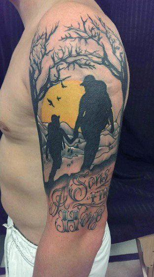 Forest Father Son Tattoos With Sunset On Arm