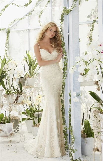 2016 Wedding Dress <3 Beaded Lace on Tulle Over Satin Slim Sheath Gown with a Scalloped Lace Sweetheart Neckline, Crystal Beaded Spaghetti Straps, Delicately Beaded Lace Fitted Bodice Past Hips, Lightly Padded Bust Cups & Boned Bodice, Cascading Beaded Lace Applique Sheath Skirt with Scalloped Lace Hem, Chapel Train, Beaded Lace Low Back Open Back. #bridalgown #customweddingdress #laceweddingdress #crystalweddingdress #gorgeous #beautifulbridalgown #receptiondress #dreamdress #openback