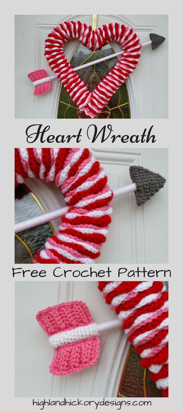 Crochet Heart Wreath.  Free Pattern.  Hearts don't have to be only for Valentine's Day. There are plenty of opportunities throughout the year to show a little love.  Pattern uses all basic stitches.