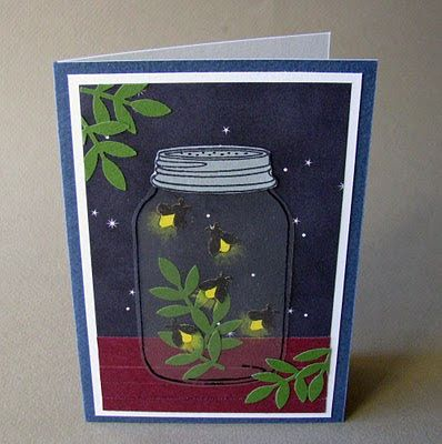 hand made card from CornerstoneLAE: jar full of fireflies ... die cut acetate stamped on the back ... luv how she made the background look like night with fireflies galore ...