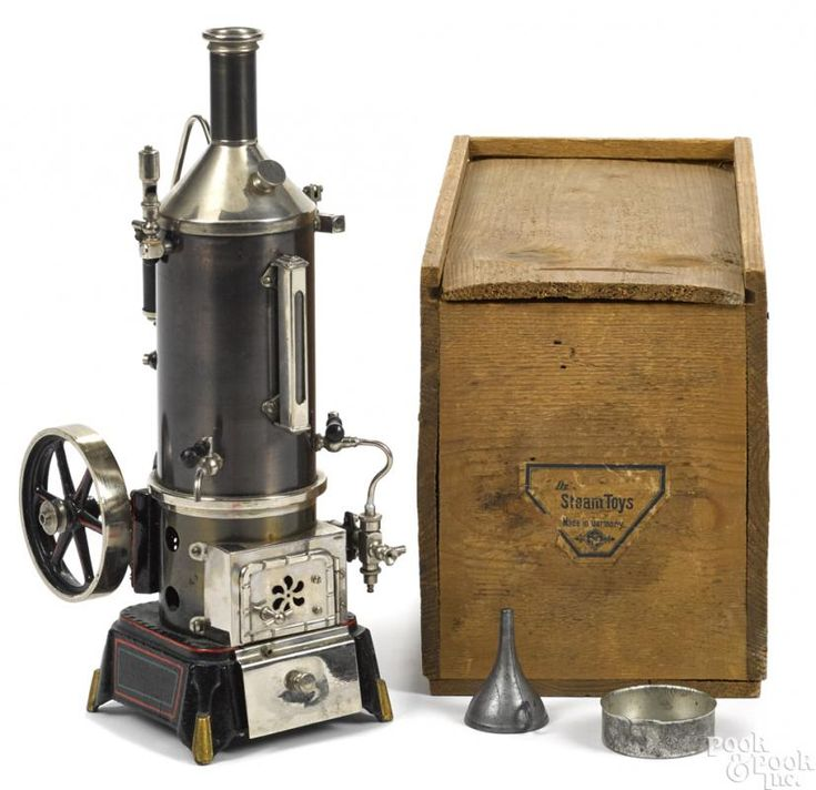 Doll et Cie vertical single cylinder steam engine on a cast iron base with a gear-driven water pump - Price Estimate: $800 - $1200