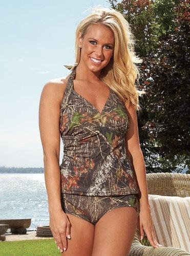 I want!!! ♥♥♥  Womens Mossy Oak Halterkini Swimsuit Top Camo Lingerie Beach Bathing Suit - Plus Size