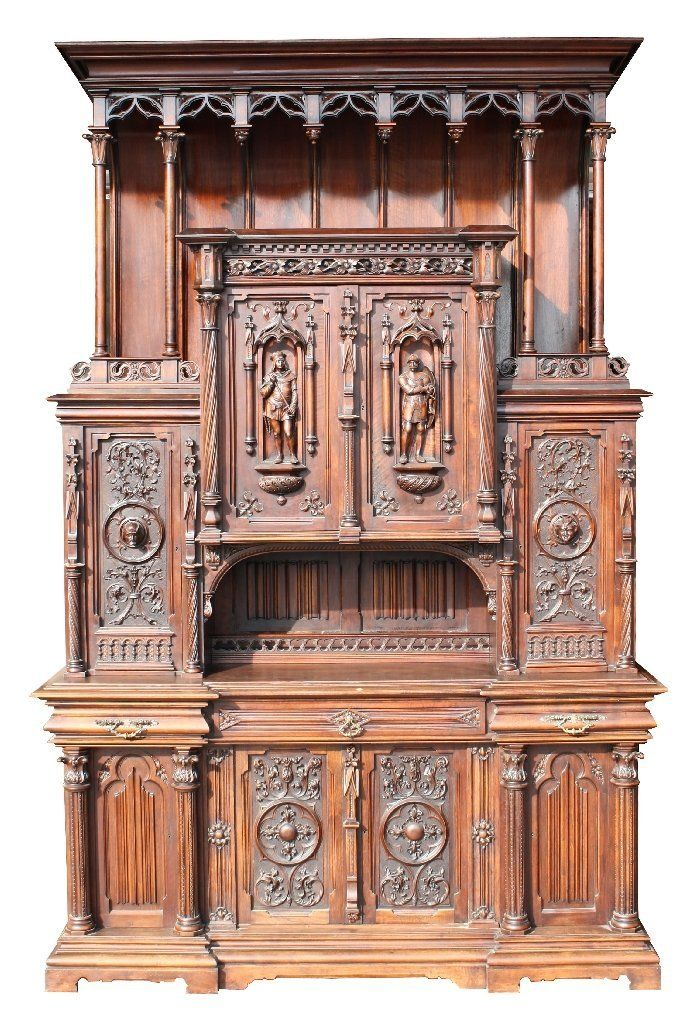 HUGE Mercier Freres French Gothic Revival Buffet - Carved Circassian Walnut  With Figural Carvings On Focal Doors c. - 235 Best Мебель Wooden Furniture Images On Pinterest Wooden