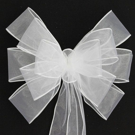 White Sheer Wedding Pew Bows Church Aisle Decorations Chair Bows
