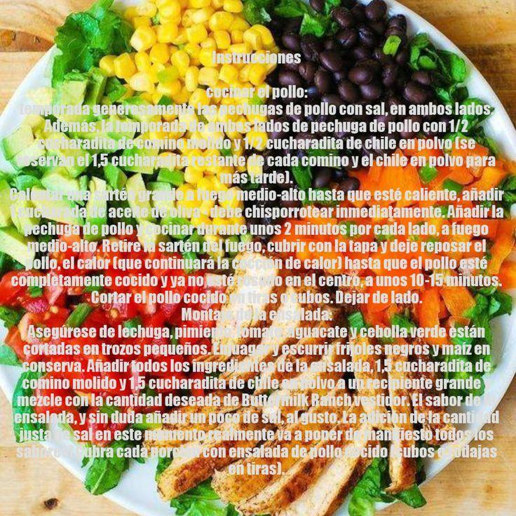 ingredientes  1 cucharada de aceite de oliva 1 pechuga de pollo grande (alrededor de 1 libra), cortado por la mitad horizontalmente 2 cucharaditas de comino molido 2 cucharaditas de chile en polvo (suave, no demasiado picante tipo) sal al gusto 1 cabeza de lechuga romana picada 1 pimiento naranja grande, picada 2 tomates medianos, picados 1 aguacate picado 4 cebollas verdes, picadas 15 oz. de frijoles negros, enjuagados y escurridos 1 taza de maíz de la lata, se enjuaga y se drenó Aderezo…