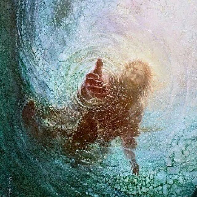 "I love this picture of the Savior from Peter's perspective. Often times we lose our faith in Christ and begin to sink in desperation. We must never ever forget that we have never sunken to far from our Savior's grasp of redeeming love. He is always reaching for us even when we aren't reaching for him. ""Come unto me, all ye that labour and are heavy laden, and I will give you rest"" Matthew 11 : 28 Artist: Yongsung Kim"