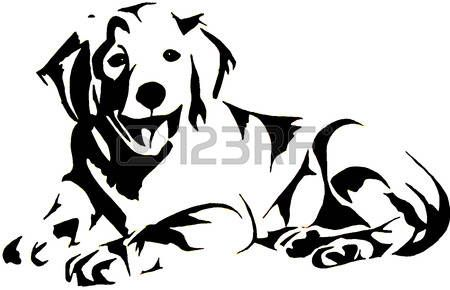 labrador silhouette: Goldene Retrievel Illustration