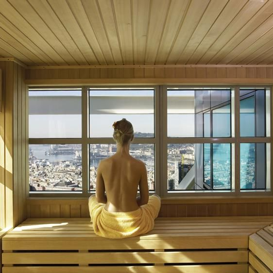 Sauna with a view of Barcelona