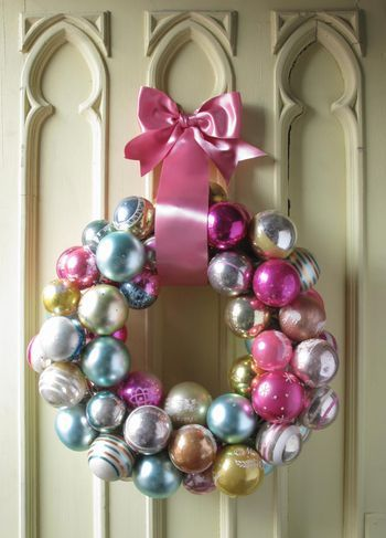 Ornament Wreath -- Christmas or other holidays (Easy -- ornaments are strung on a wire hanger!)