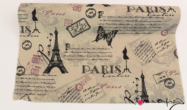 Ρολό καραβόπανο φυσικό χρώμα σχέδιο PARIS - Παρίσι σε μαύρο χρώμα  Διαστάσεις 48cm x 4,7 μέτρα περίπου
