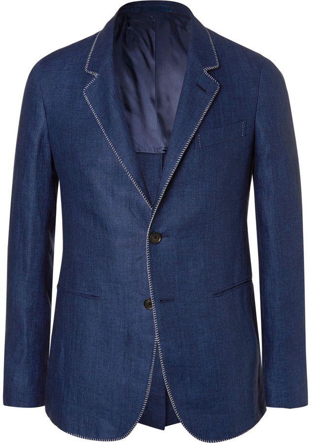Caruso Blue Slim-Fit Contrast-Stitched Herringbone Linen Blazer