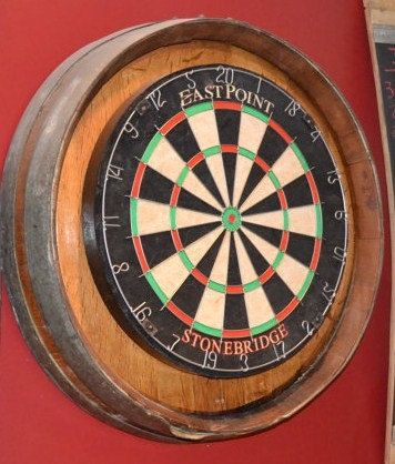This dart board kit is mounted on a retired wine barrel. The kit comes with a high quality cork dart board and mounting hardware that makes