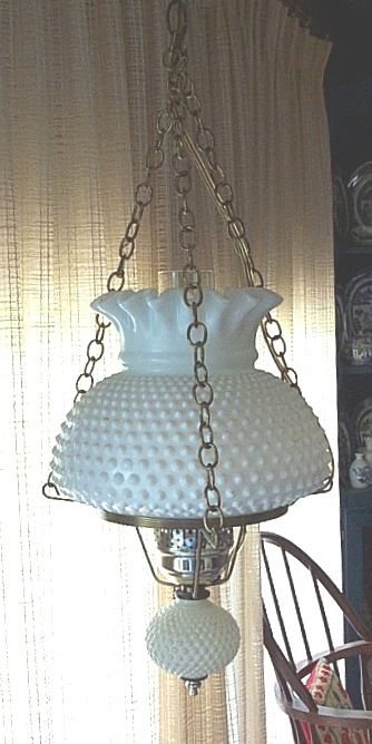 vintage hob nail hanging swag light