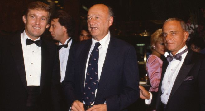 Donald Trump, Mayor Ed Koch, and Roy Cohn attend the Trump Tower opening in October 1983.