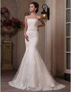 Sirène de train bretelles en satin tulle robe de mariage