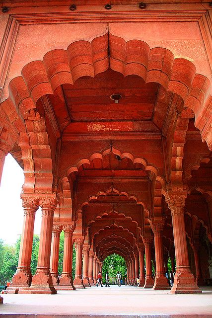 Diwan-e-aam of the Red Fort (Built in 1648) in Delhi, India.