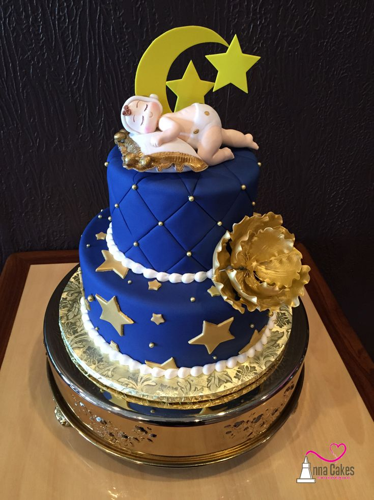 Moon And Stars Baby Shower Cake Navy And Gold Annacakes