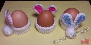 Horgolt nyuszifüles tojástartó - ingyenes minta a Kreatív+Hobby-tól