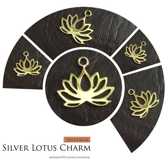 PRODUCT INFO:  Item code: CH557141 Name item: silver Lotus charm 20.25 x 18.6 mm with jumpring Full Name: 925 sterling silver Lotus charm 20.25 x 18.6 mm with jumpring available in sterling silver & vermeil Fabrication method: Handmade each item cut individually Style: Lotus Charm Dimension: 20.25 x 18.6 mm Tightness: 0.90 mm Rings/Loop inside dia.: jumpring 0.75 x 2.5 mm inside dia. Clusters/Balls/Accents: None Approximate weight for 6 pieces: 6.36 gram Country of origin: ...