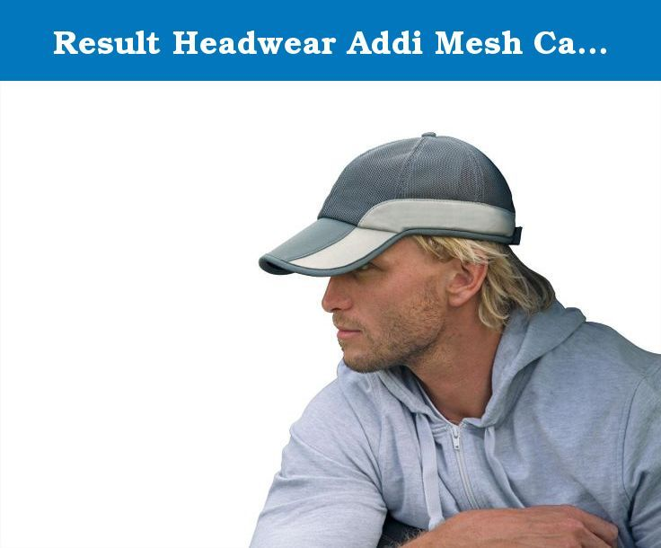 Result Headwear Addi Mesh Cap - Navy / Silver Grey. One size adjustable100% polyester side panels and peak. 6 panel. Low profile. Pre-curved peak. Contrast side panels. Under-peak mesh pocket. Easy tear release size adjuster. Suitable for embroidery.