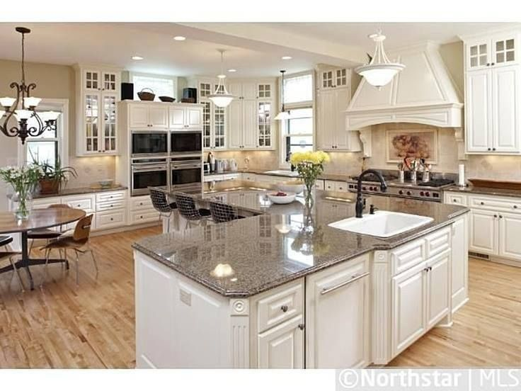 An l shaped kitchen island kitchens pinterest for Gourmet kitchen island designs