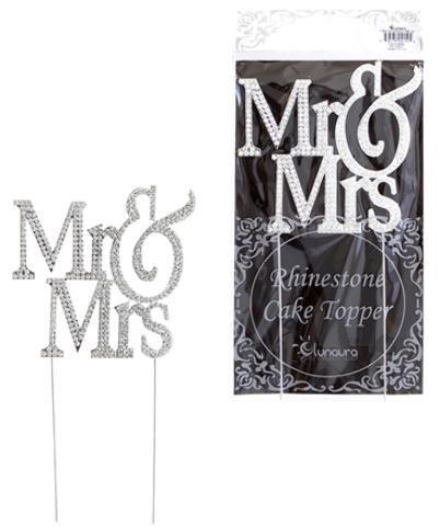 Sparkling Rhinestone Cake Topper - Mr. and Mrs. Capital - 1 Units