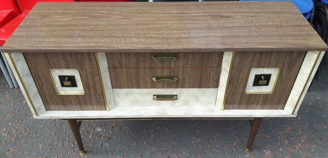Retro 1960's Formica Sideboard Light Grey For Sale in Dewsbury, West Yorkshire