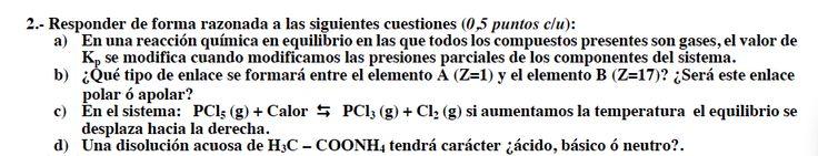 Ejercicio 2, propuesta 2, SETIEMBRE Fase específica 2009-2010. Examen PAU de Química de Canarias. Tema: geometría molecular.
