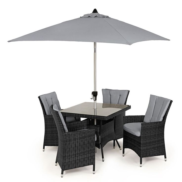 Maze Rattan's LA 4 Seat Square is the perfect compliment to your dining experience. With soft padded seat and back cushions on a highback chair this set is wonderfully comfortable. Made from all weather rattan this set is virtually maintence free.
