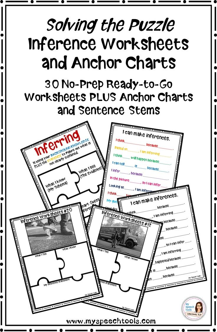 """Inference skill worksheets and anchor charts are NO-PREP and ready to go! Students use their schema (background knowledge) and evidence to generate an inference. Students can use the sentence frames and anchor chart to help them write an inference statement, such as: """"I infer....because..."""""""