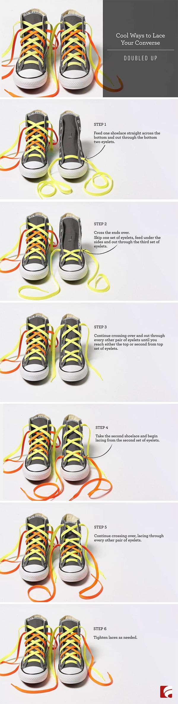 How to Lace Your Converse: Doubled Up. There's nothing wrong with a classic pair of grey Converse, but if you're itching to add a little pizzazz, just following the directions in this video for a stand-out look. All you need to start with is a pair of neutral Converse shoes and two different colored laces.