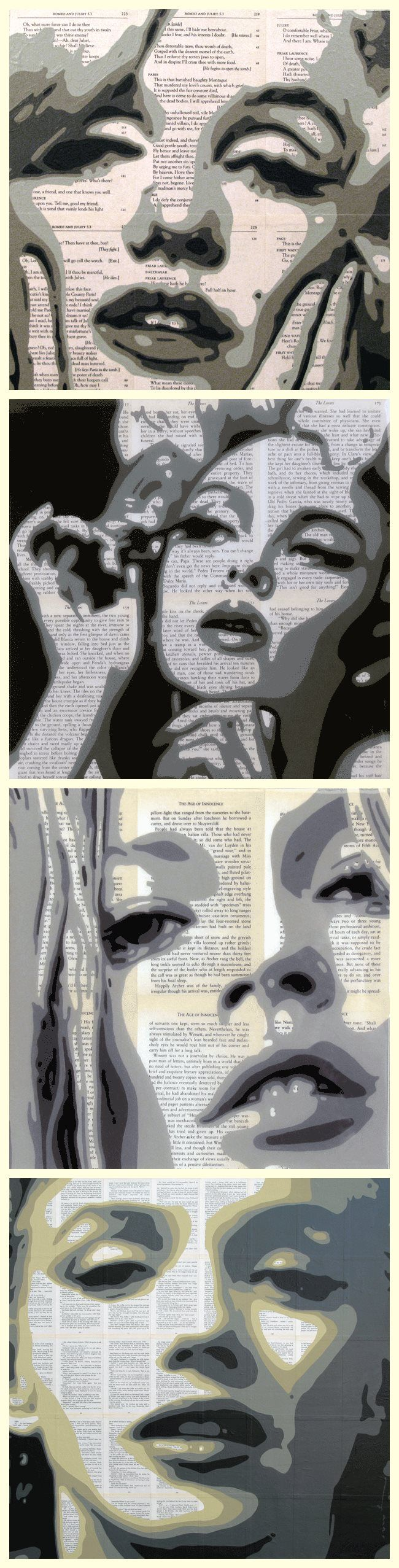 Acrylic Paintings on Book Pages by Andrzej Karwacki