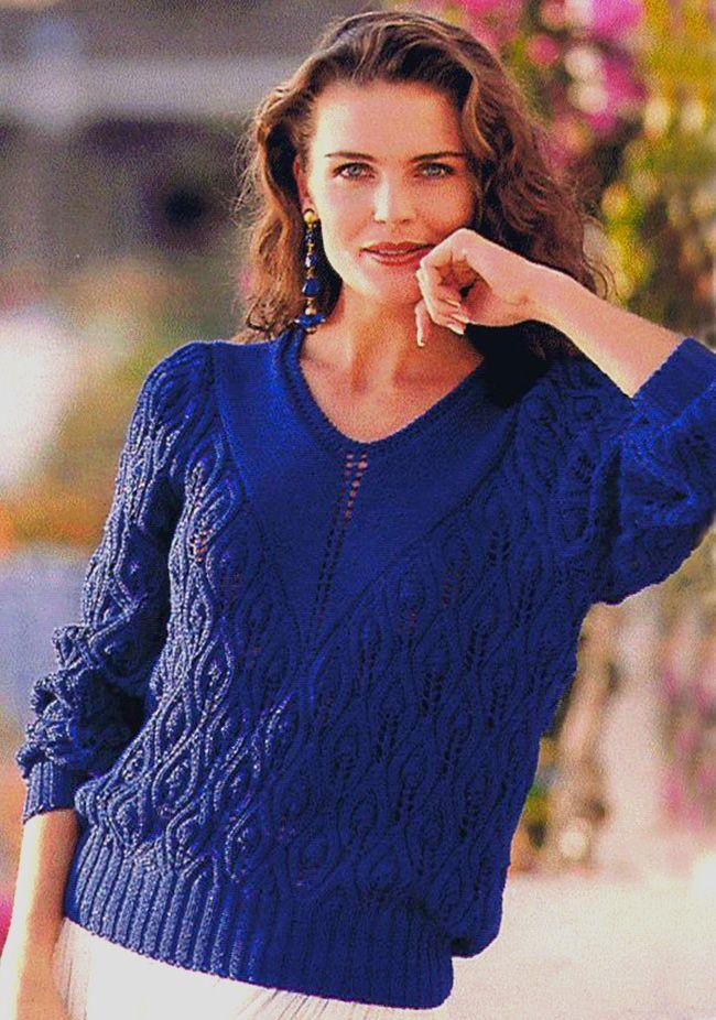 Пуловер с V-образной горловиной и узором листья. Обсуждение на LiveInternet - Российский Сервис Онлайн-Дневников
